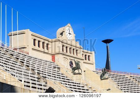 Barcelona, Spain - November 12, 2015: Barcelona Olympic Stadium and cauldron for olympic flame. The stadium built in 1927 was renovated in 1989 to be the main stadium for the 1992 Summer Olympics.