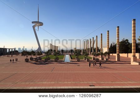 Barcelona, Spain - November 12, 2015: park (Anella Olimpica) and Montjuic Communications Tower. The park was the main site for the 1992 Summer Olympics. The promenade connects Placa d Europa and the stadium.