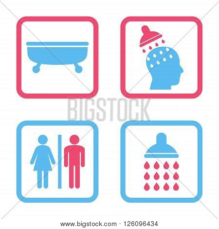 Sanitary vector bicolor icon. Image style is a flat icon symbol inside a square rounded frame, pink and blue colors, white background.