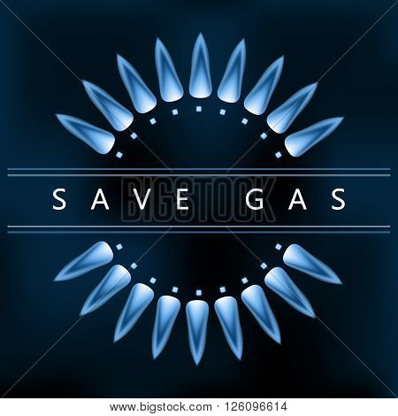 Save earth power reduce and save gas blue nature gas flame