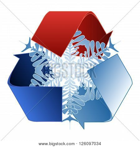 Save heat energy saving and recycle symbol with snowflake