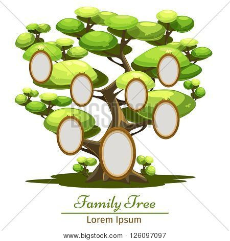 Family Tree. Vector illustration of cartoon style. Tree with foto.
