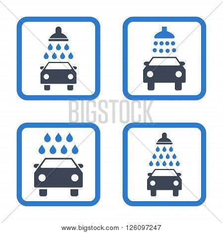 Carwash vector bicolor icon. Image style is a flat icon symbol inside a square rounded frame, smooth blue colors, white background.