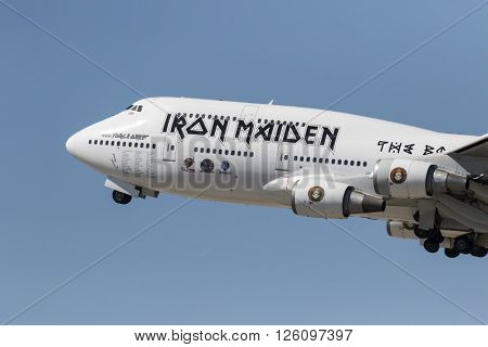 Los Angeles, CA - Apr 17, 2016: Iron Maiden One takes off from LAX Airport in Los Angeles, CA. after their North American tour and head to the Far East on their Book Of Souls World Tour.