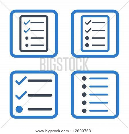 List Items vector bicolor icon. Image style is a flat icon symbol inside a square rounded frame, smooth blue colors, white background.