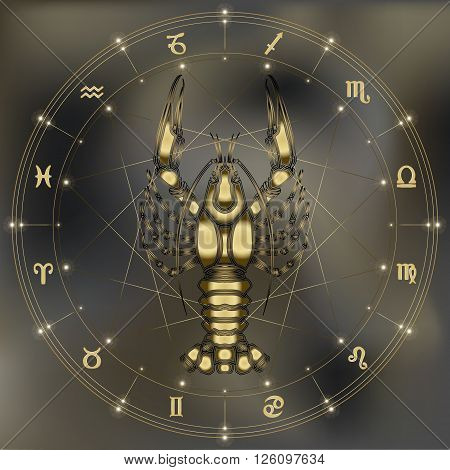 Golden crayfish zodiac Cancer sign for astrological predestination and horoscope