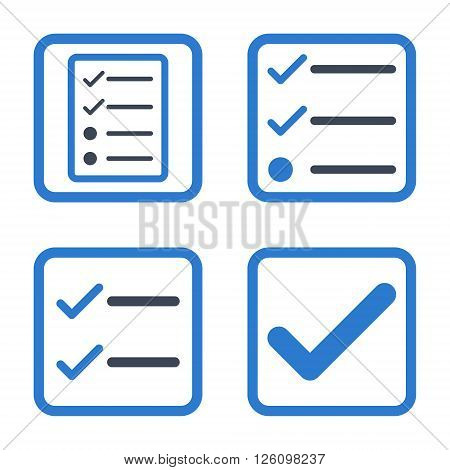 Valid vector bicolor icon. Image style is a flat icon symbol inside a square rounded frame, smooth blue colors, white background.