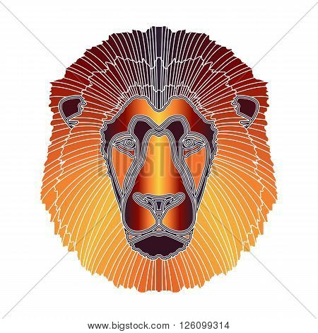 Bright colorful lion head zodiac Leo sign for astrological predestination and horoscope