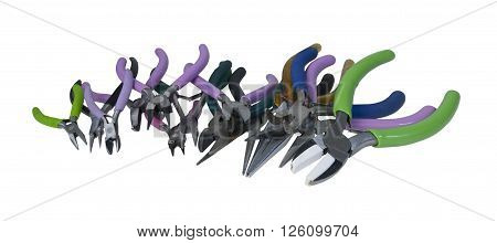 A row of different pliers for different functions - path included