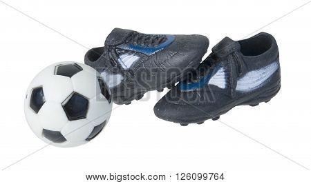 Black and white soccer ball with black and white shoes - path included