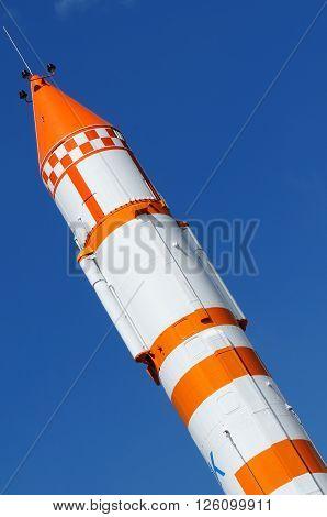 Space carrier rocket stella over blue sky