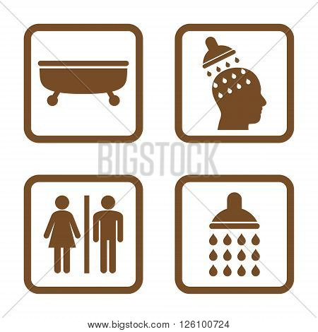 Sanitary vector icon. Image style is a flat icon symbol inside a square rounded frame, brown color, white background.