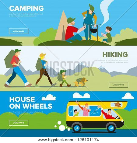 Banners of hiking and family adventure. Weekend journey. Vector illustration. Activity life. Outdoor leisure. House on wheels.