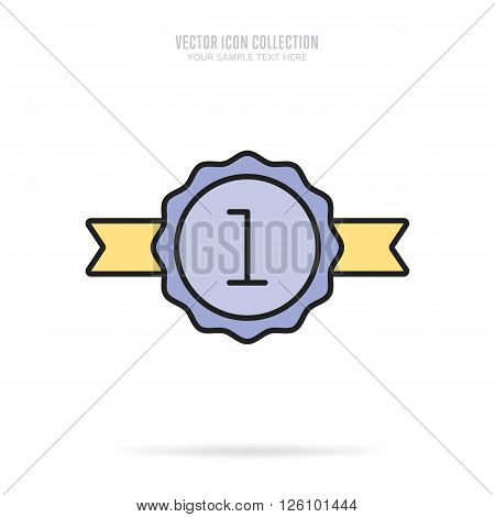 Winner badge. Winner medal. Flat medal. Award for winner. Winner icon. Vector winner medal. Isolated winner medal. Winner vector concept. Winner cup on medal. Gold medal.