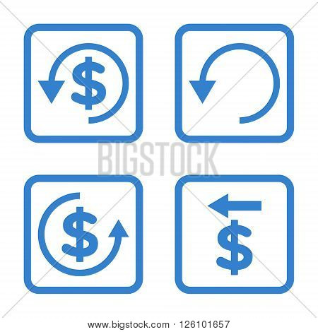 Chargeback vector icon. Image style is a flat icon symbol inside a square rounded frame, cobalt color, white background.