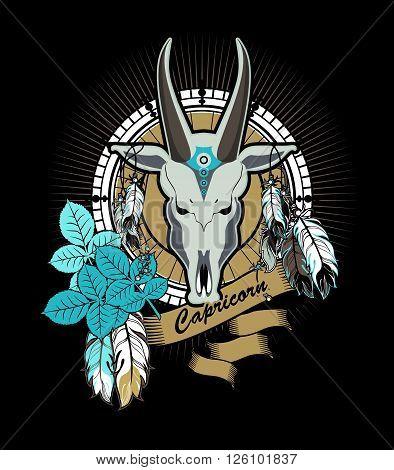vector illustration zodiac sign Capricorn emblem vintage frame with feathers on a black background