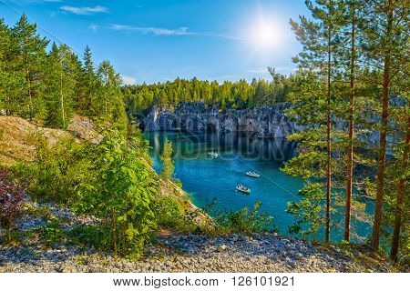 Perfect Sunny Day in Marble Limestone Canyon in Karelia, Russia
