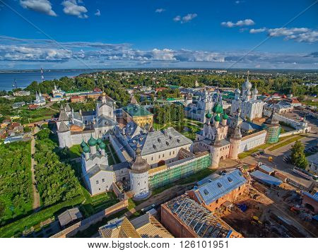 Flying over the Historical Rostov Velikiy Town in Russia