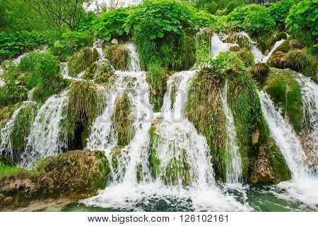 Beautiful waterfall in Natinal park Plitvice lakes, Croatia, Europe.