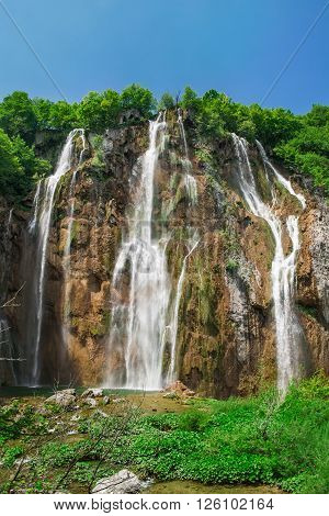 The Great waterfall in Natinal park Plitvice lakes, Croatia, Europe.