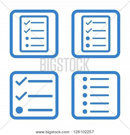 List Items vector icon. Image style is a flat icon symbol inside a square rounded frame, cobalt color, white background.