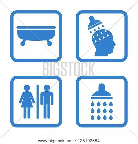 Sanitary vector icon. Image style is a flat icon symbol inside a square rounded frame, cobalt color, white background.