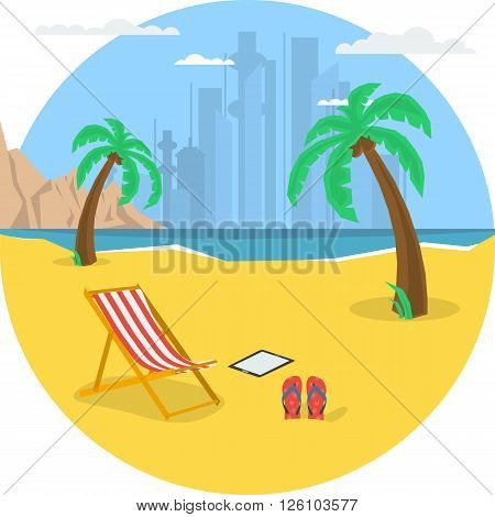 Vector summertime round traveling concept. Deck chair under palm tree on beach. Yacht in the sea dolphins moutains. Flat style. Web infographic