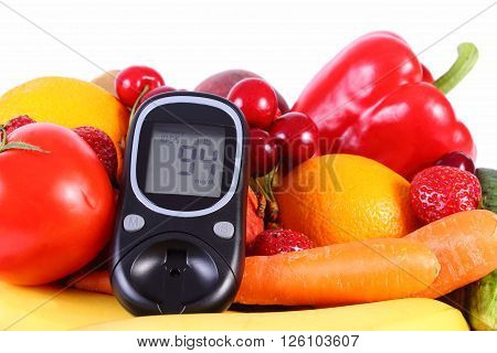 Glucose meter with fresh ripe fruits and vegetables concept of diabetes healthy food nutrition. Isolated on white background