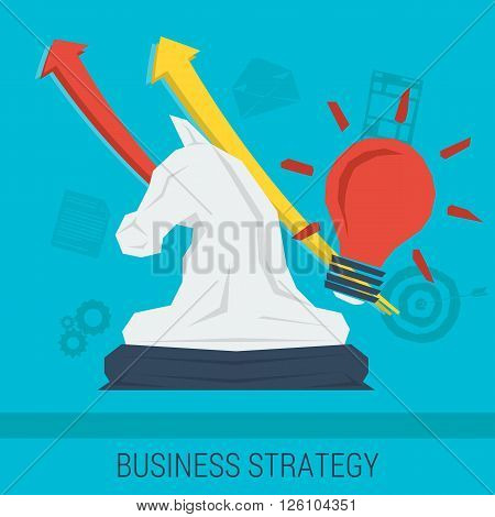 Vector business background or concept strategy of business improvement successful management good idea. Chess knight with arrows up and abstract lines. Flat style. Web infographic