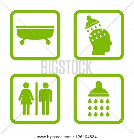 Sanitary vector icon. Image style is a flat icon symbol inside a square rounded frame, eco green color, white background.