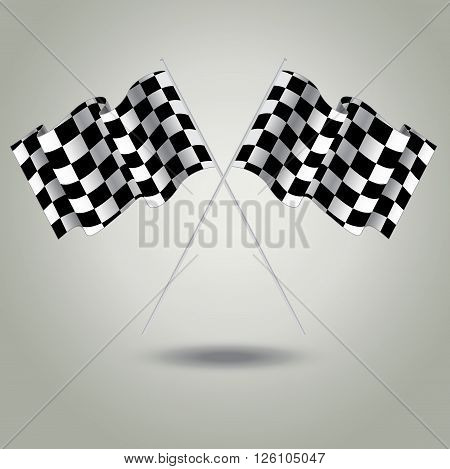 Checkered flag for racing. Vector. Two Finish flag with shadow. Race flag. finish illustration. Waving Checkered flag