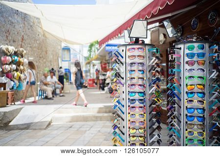 A street in Bodrum Turkey where tourists like to visit and purchase souveniirs and gifts.