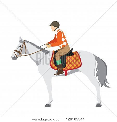Equestrian sport. Illustration of horse. Vector. Thoroughbred horse. The Sport of Kings. Horse with Horseman. Derby