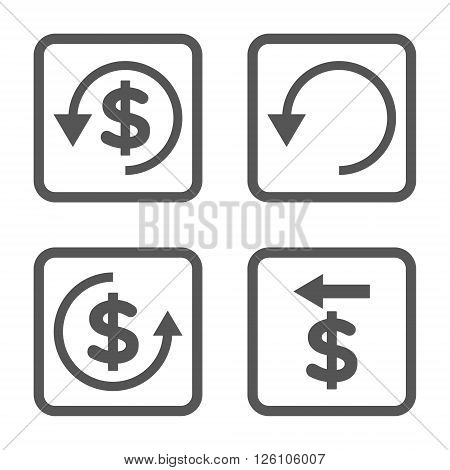 Chargeback vector icon. Image style is a flat icon symbol inside a square rounded frame, gray color, white background.