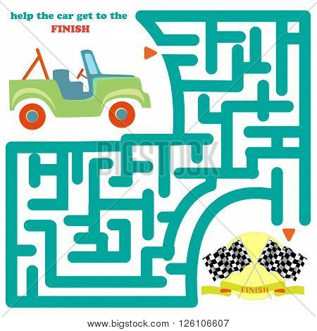 Funny labyrinth. Help the car get to the finish and get out of the maze. Funny cartoon character. Vector Rebus. Isolated on white background