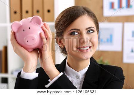 Happy Beautiful Woman Shake Funny Piggybank