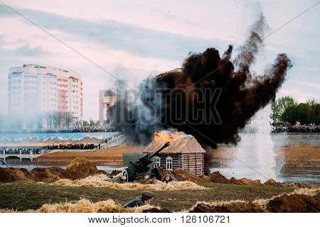 Mogilev, Belarus - May 08, 2015: Reconstruction of Battle during events dedicated to 70th anniversary of the Victory of the Soviet people in the Great Patriotic War.
