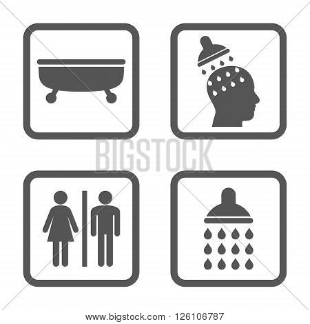 Sanitary vector icon. Image style is a flat icon symbol inside a square rounded frame, gray color, white background.