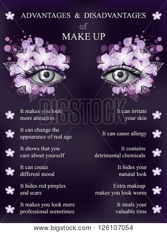 Advantages and disadvantages of makeup spring violet art flower makeup infographics