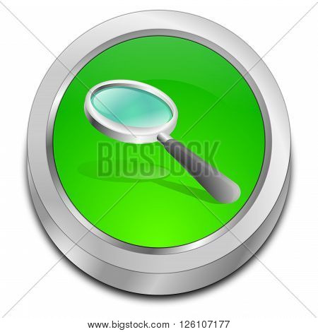 glossy green magnifying glass button 3D Illustration