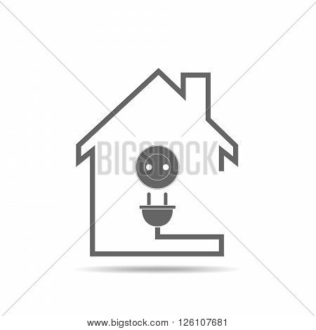 Black house with socket - vector illustration. Simple icon with house silhouette and socket with plug.