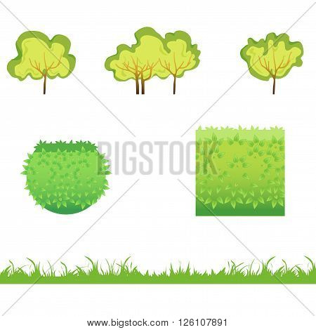 Green Grass with bushes. Isolated On White Background. Grass different shape. Vector Illustration. Concept design elements for garden. Spring Garden. Eps 8