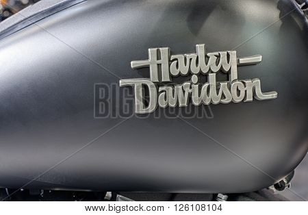 BRNO ,CZECH REPUBLIC-MARCH 4,2016: Close up fuel tank of motorcycle Harley Davidson Street Bob Special on International Fair for Motorcycles on March 4,2016 in Brno in Czech Republic