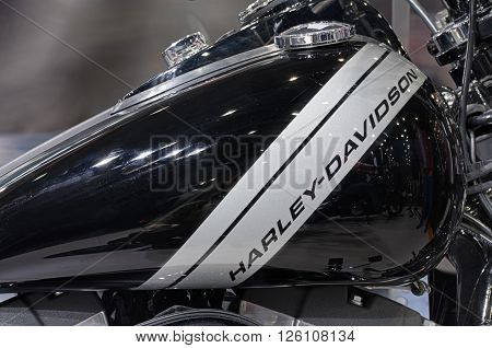 BRNO, CZECH REPUBLIC-MARCH 4,2016: Close up fuel tank of motorcycle Harley Davidson Dyna Fat Bob on International Fair for Motorcycles on March 4,2016 in Brno in Czech Republic