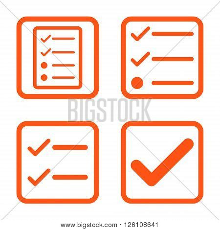 Valid vector icon. Image style is a flat icon symbol inside a square rounded frame, orange color, white background.