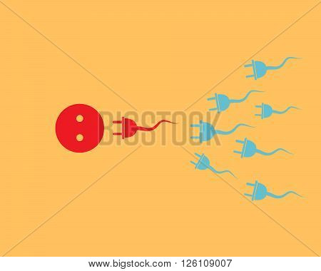 Fertilization concept - vector illustration. Plugs and cables take the form of sperm and sent into a socket to the ovum on yellow background.