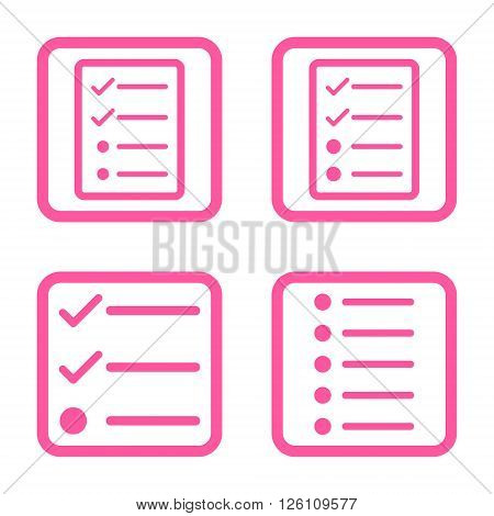 List Items vector icon. Image style is a flat icon symbol inside a square rounded frame, pink color, white background.