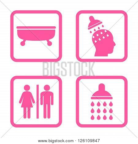 Sanitary vector icon. Image style is a flat icon symbol inside a square rounded frame, pink color, white background.