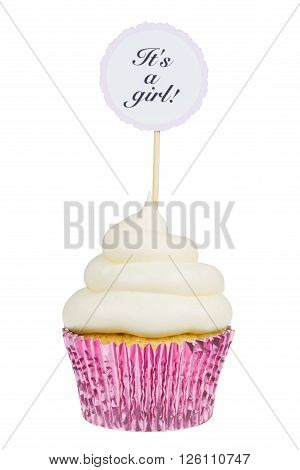 Baby shower cupcake for a girl with buttercream frosting isolated on white