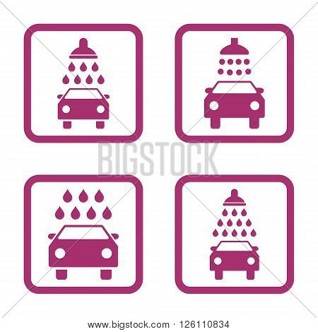 Carwash vector icon. Image style is a flat icon symbol inside a square rounded frame, purple color, white background.